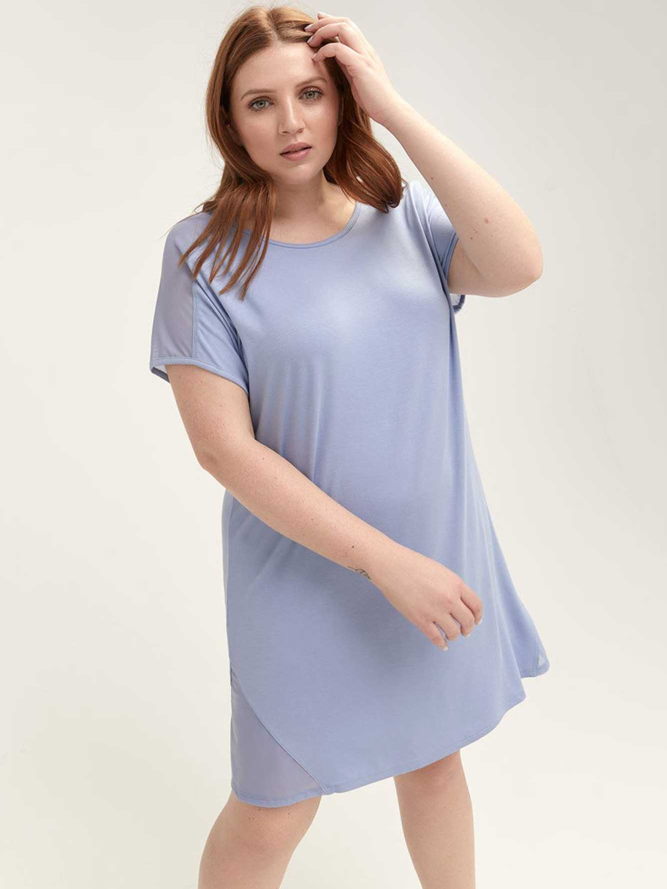 Solid Sleepshirt with Mesh Inserts - Déesse Collection
