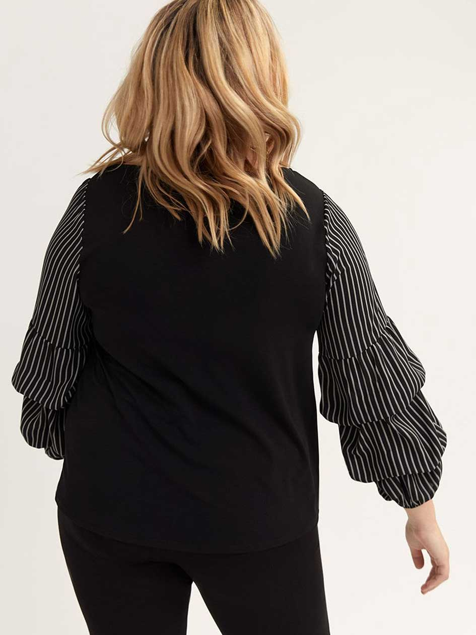 Striped Balloon-Sleeve Boat-Neck Top - Michel Studio