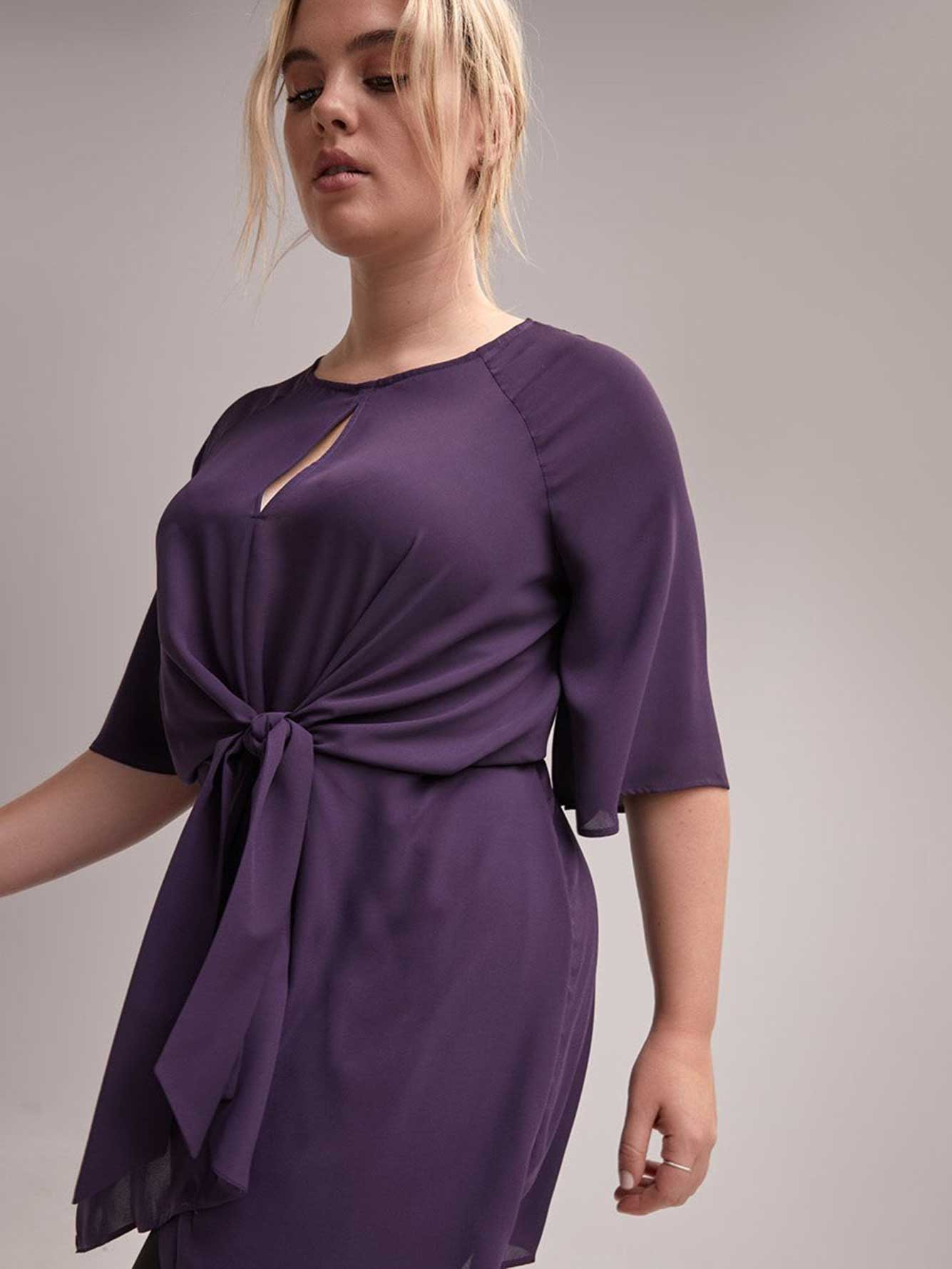 Flutter Sleeve Tunic with Front Keyhole and Knot - Michel Studio