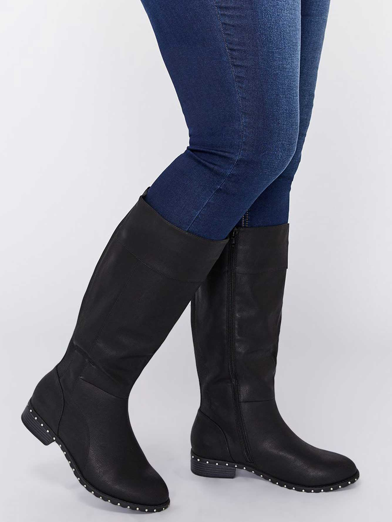 Knee High Boot with Outer Sole Studs - Seraphina