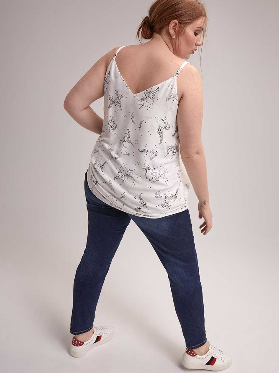 Double Layer Printed Cami with Adjustable Straps - Michel Studio