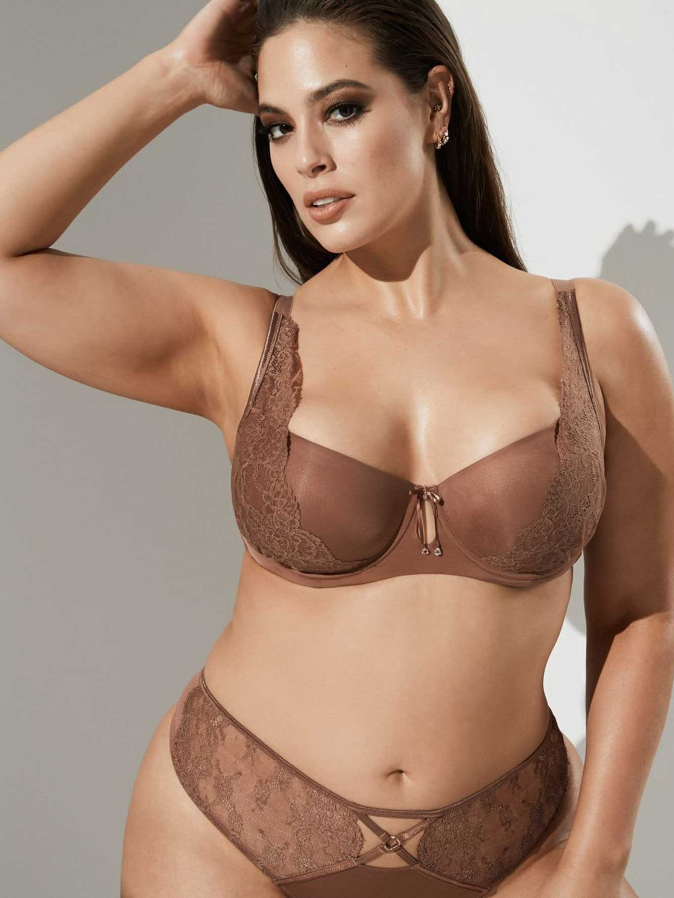 ae0a7d4dad Ashley Graham Micro Fiber and Lace Diva Demi Cup Bra