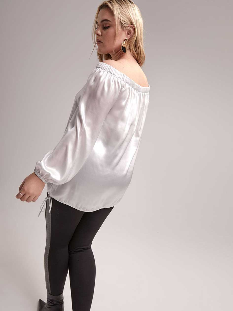 Foil Print Off-the-Shoulder Blouse - L&L