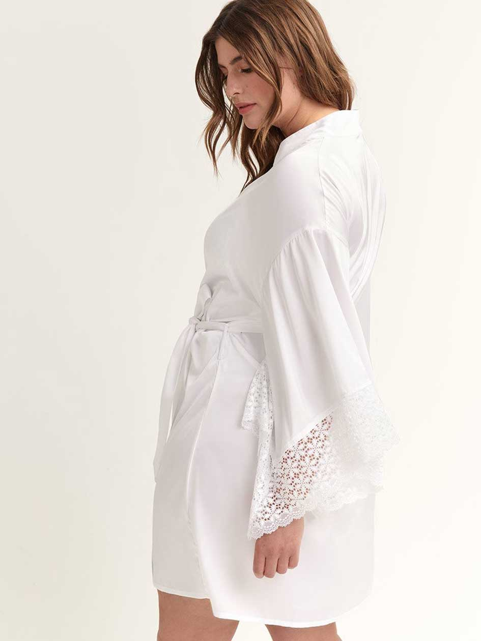 Veste de pyjama kimono manches au coude - Ashley Graham