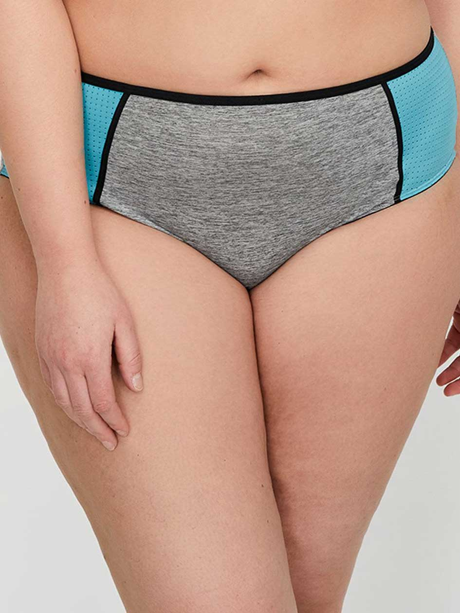 Grey Base with Mesh High Cut Panty - Déesse Collection
