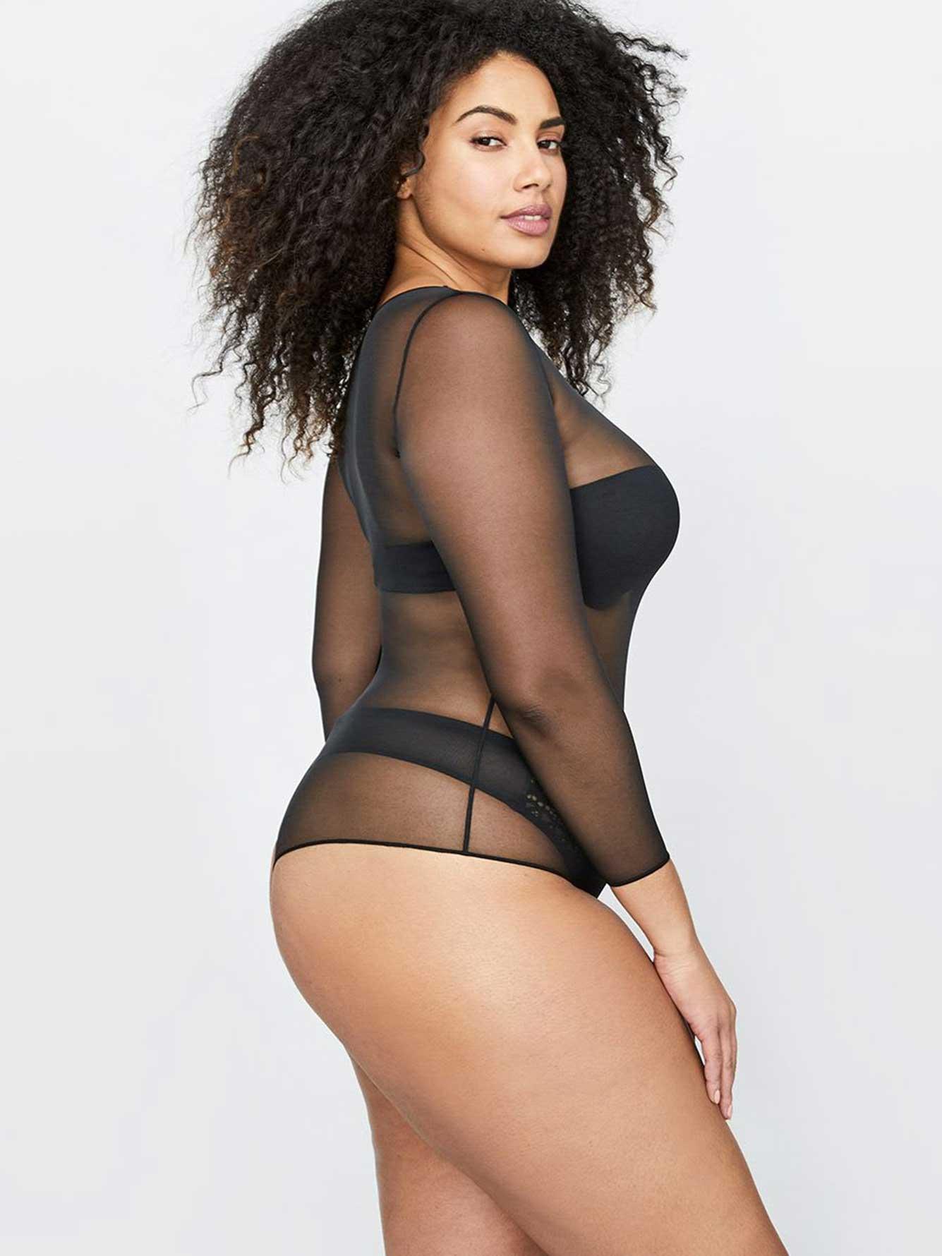 8bc99689eabd3 Spanx Sheer Long Sleeve Bodysuit | Addition Elle
