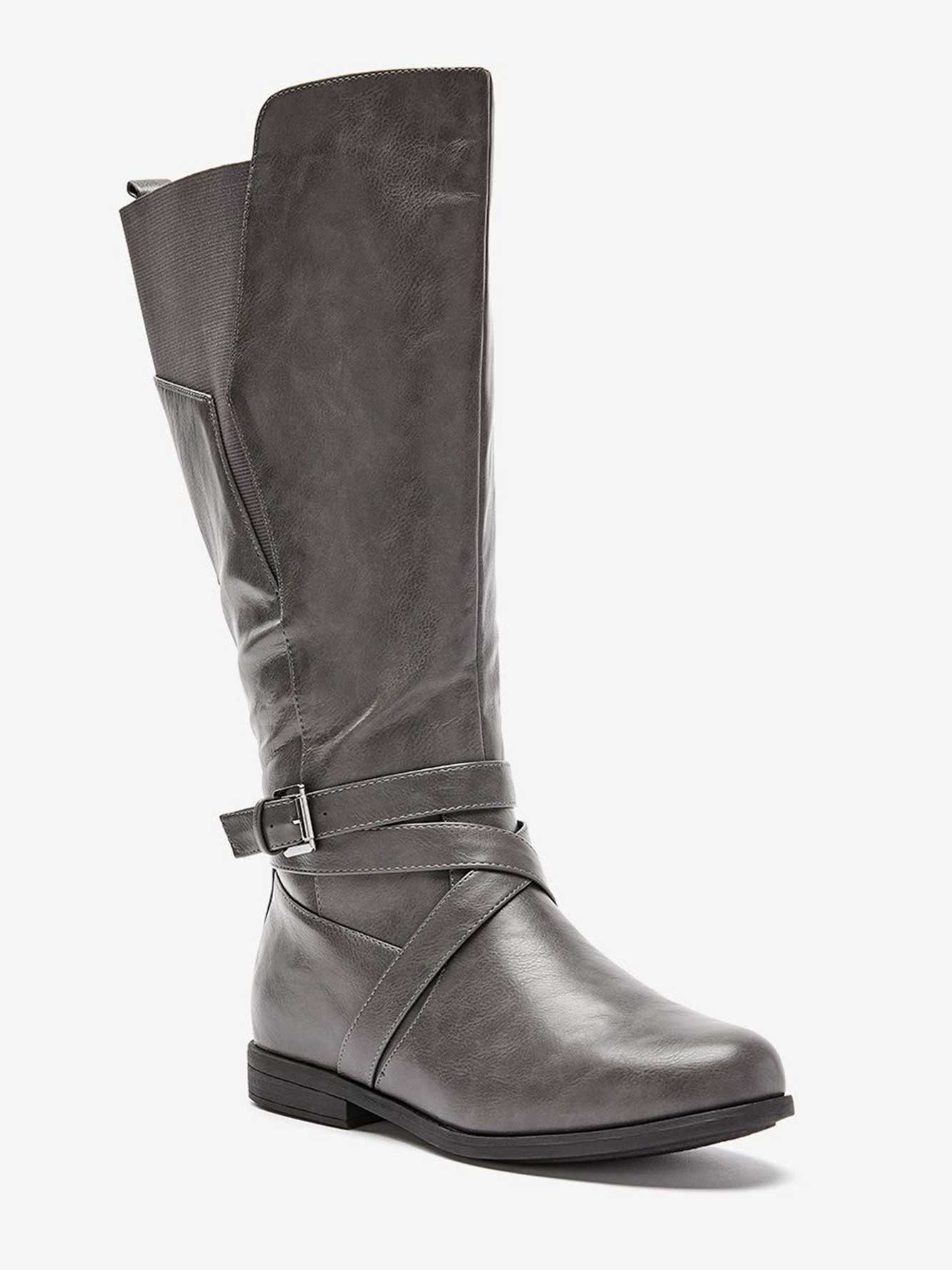 Tall Boot with Crisscross Strap and Elastic Detail - Sage