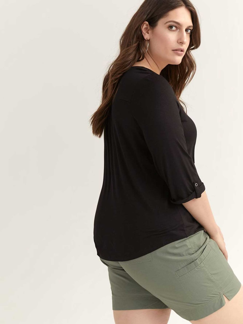 Three-Quarter Sleeve Henley Top