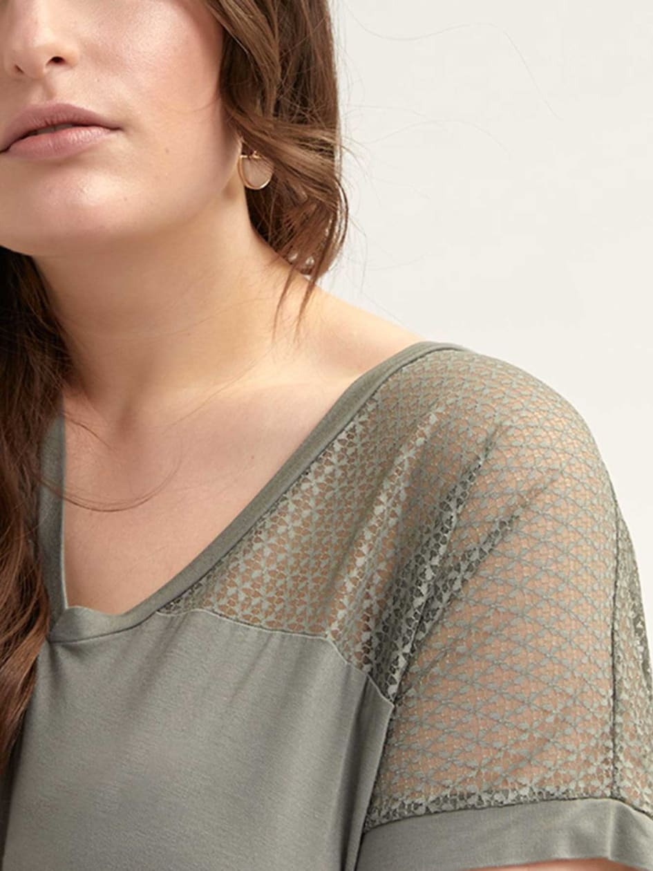 Dolman-Sleeve Top with Mesh Yoke - L&L