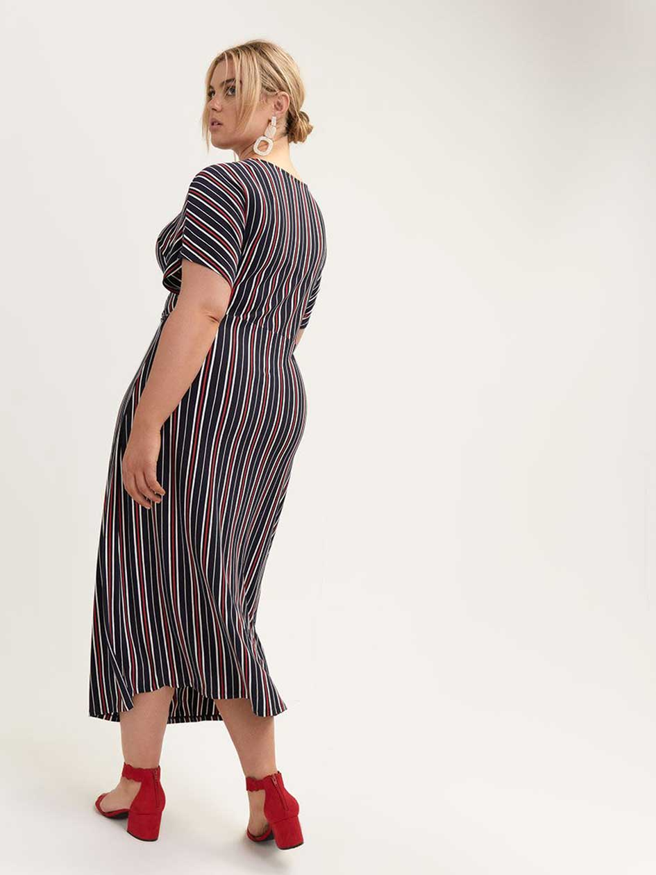 Striped Midi Dress with Knot Detail - Michel Studio