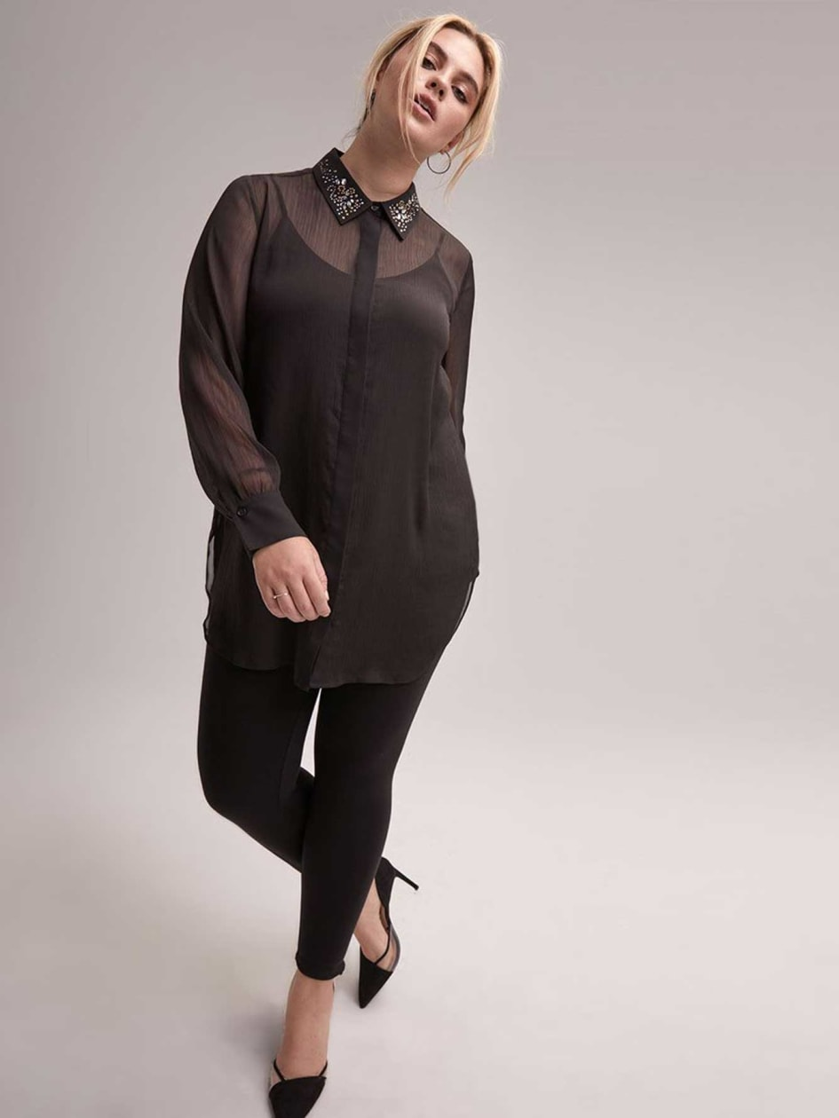 Long Sleeve Buttoned Down Tunic Blouse with Embellished Collar - L&L