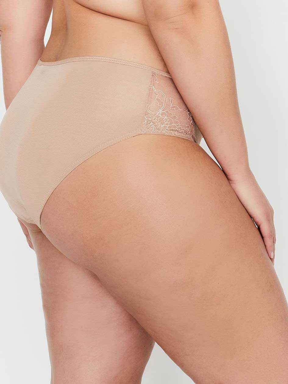 Ashley Graham Essentials High Cut Lace and Striped Panty