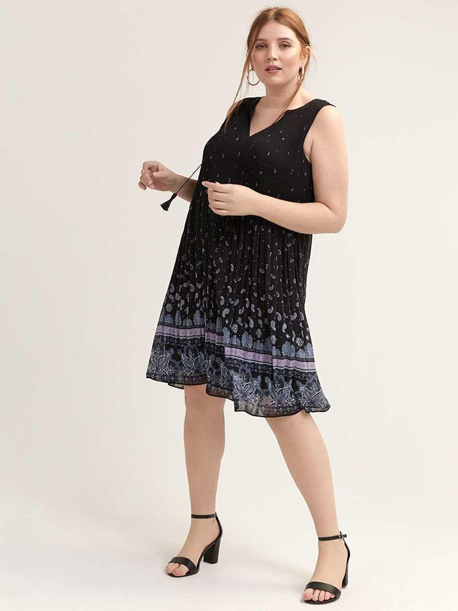 f860ce6425 Printed A-Line Pleated Dress - L L