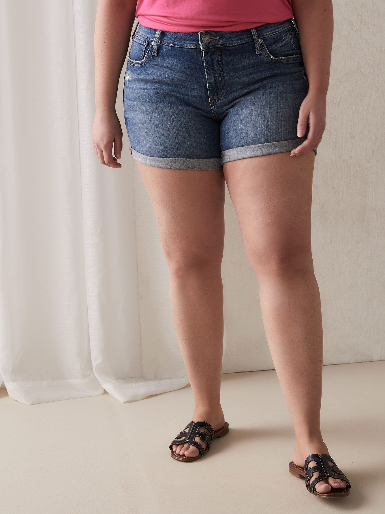 Boyfriend Denim Short with Rolled Cuff - Silver Jeans