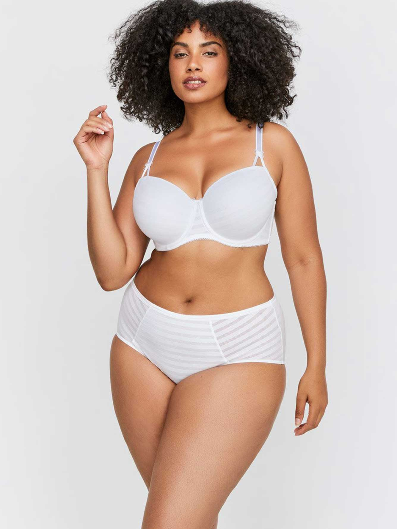 9842531ce59 White Basic Shadow Stripe Balconette Bra - Déesse Collection ...