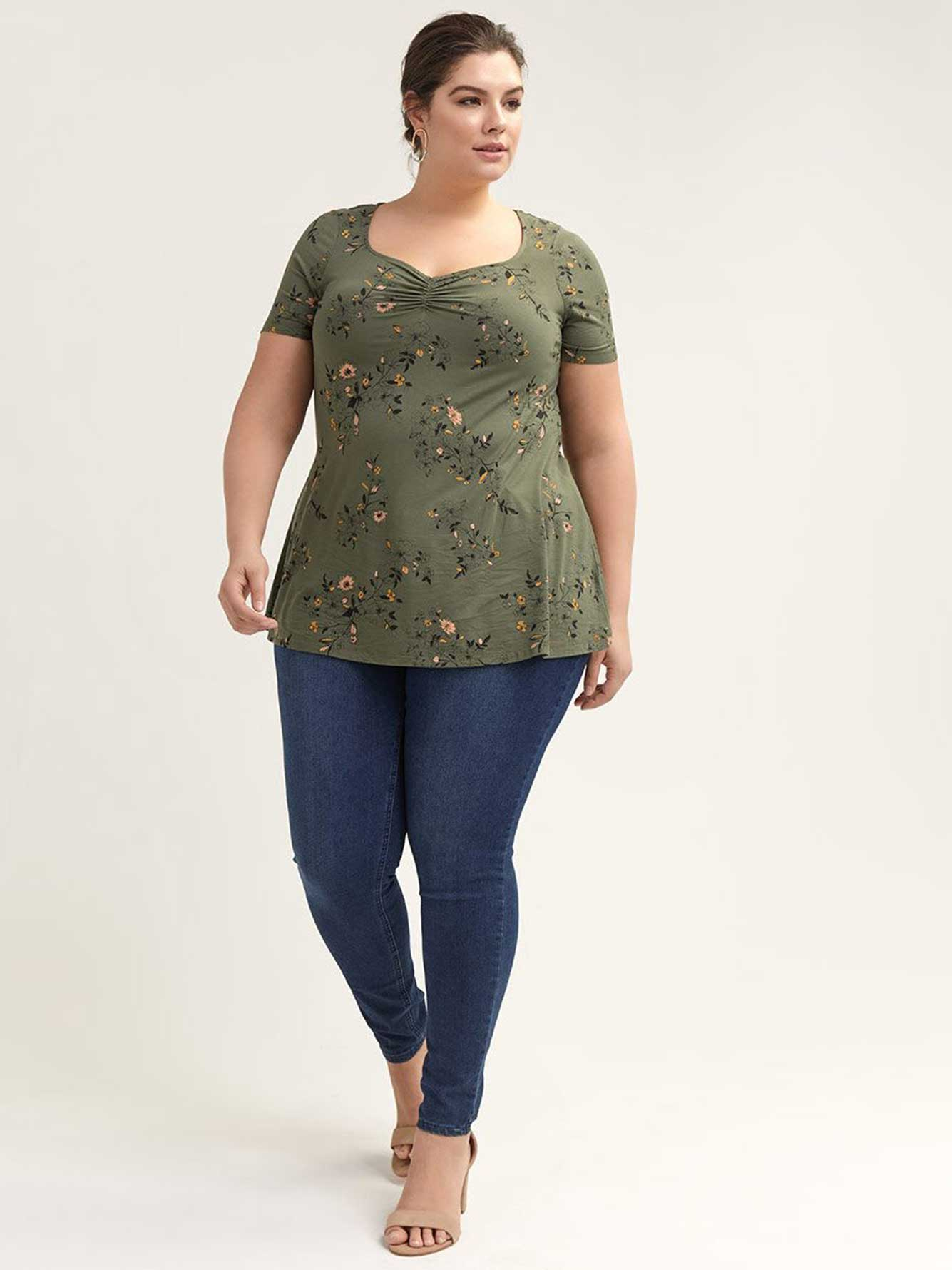 Printed Sweetheart Swing Top - Michel Studio