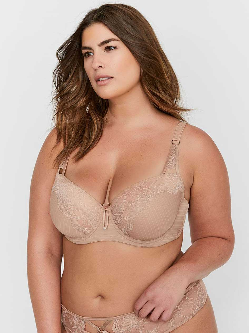 a3beff38e Ashley Graham Lace and Striped Showstopper Bra