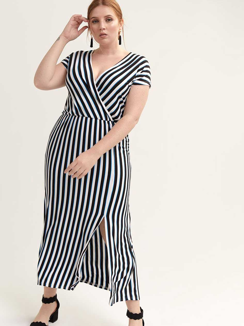bc92fd7526d Faux-Wrap Striped Maxi Dress - Michel Studio