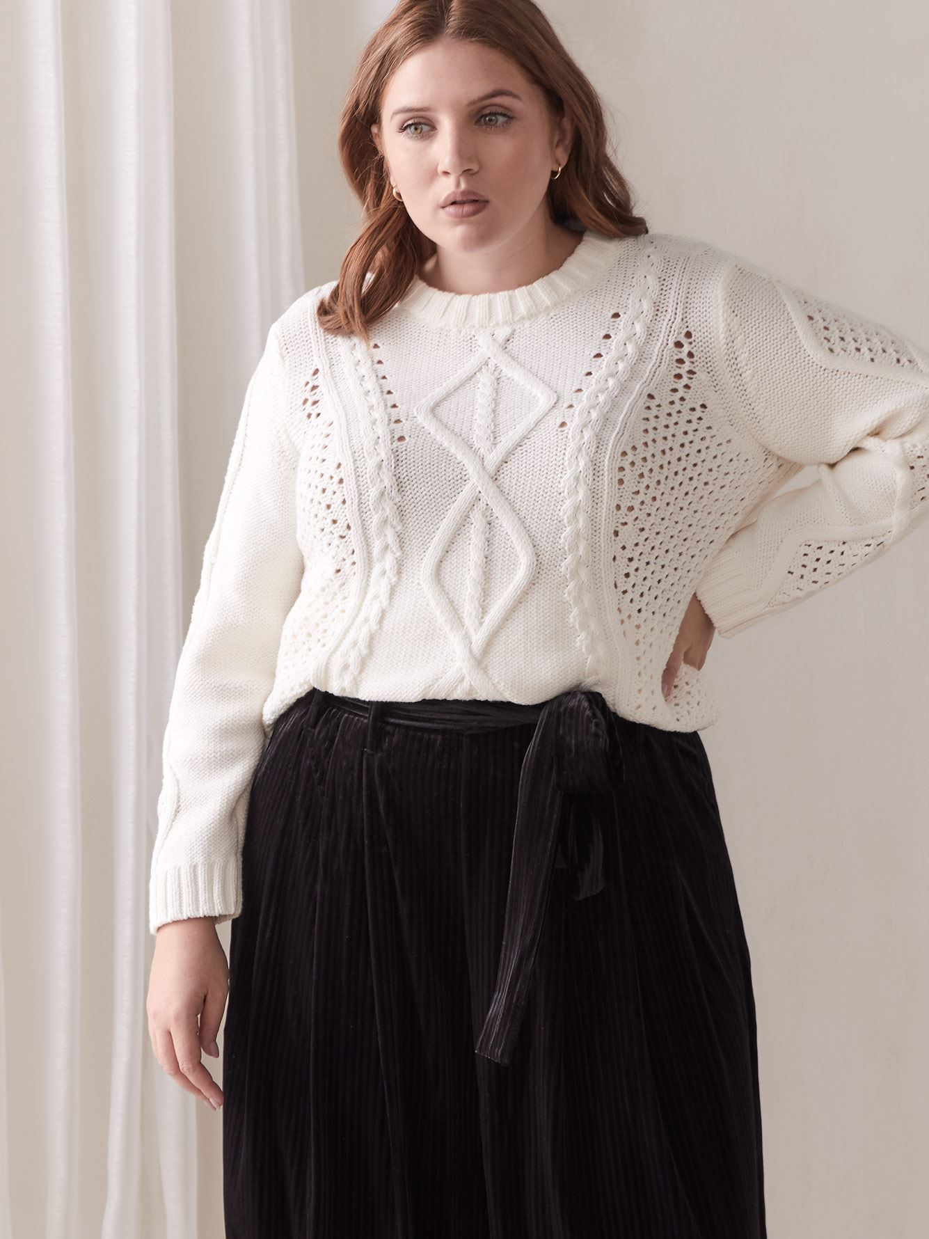 Adrina Cable-Knit Sweater - RACHEL Rachel Roy