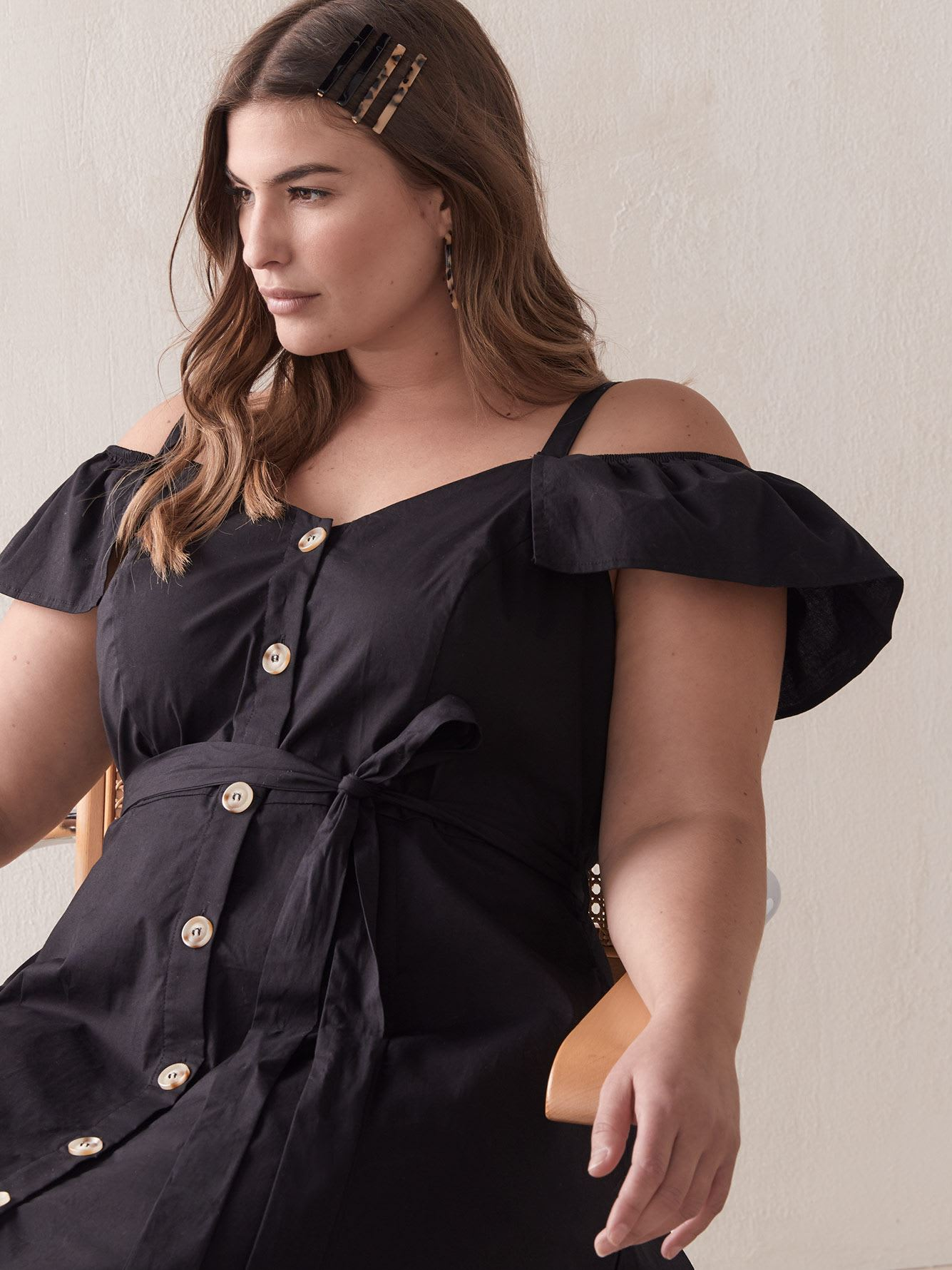 Button-Down Shoulder Affair Dress - City Chic