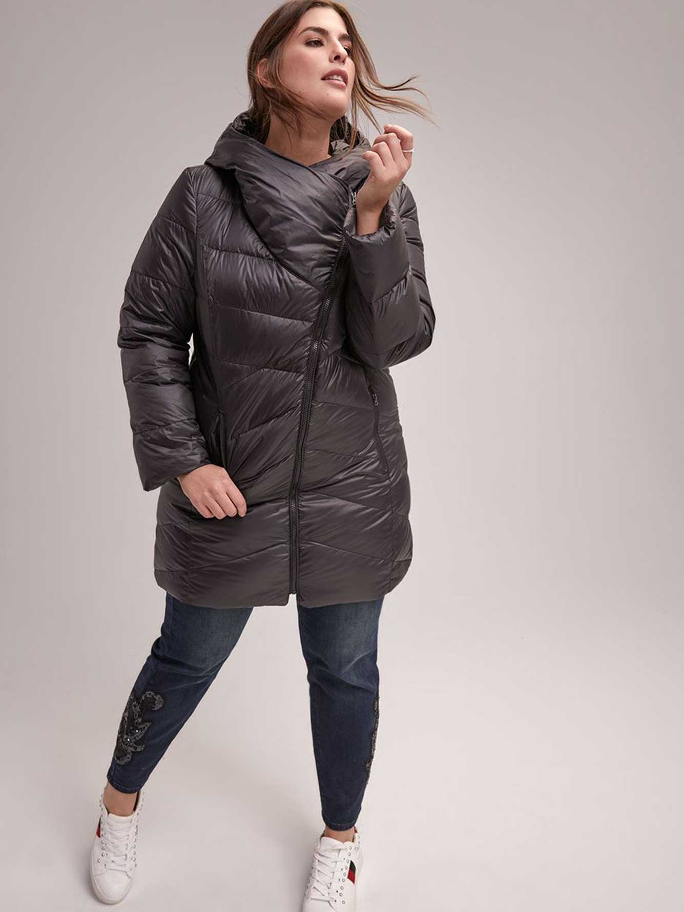 c4ad2558e97 Packable Down Coat with Asymmetrical Collar - LIVIK