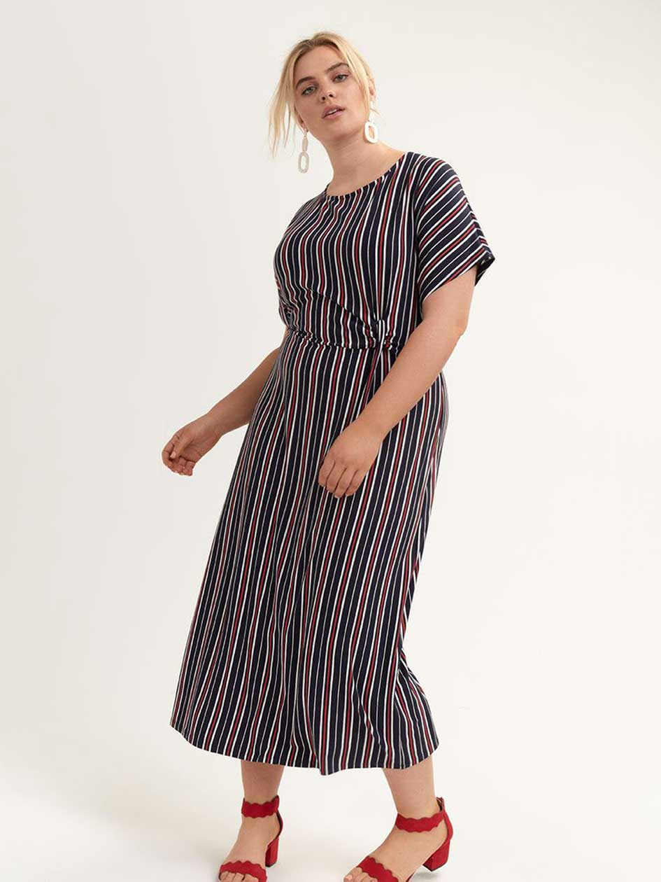 d0f974b57c070 Striped Midi Dress with Knot Detail - Michel Studio