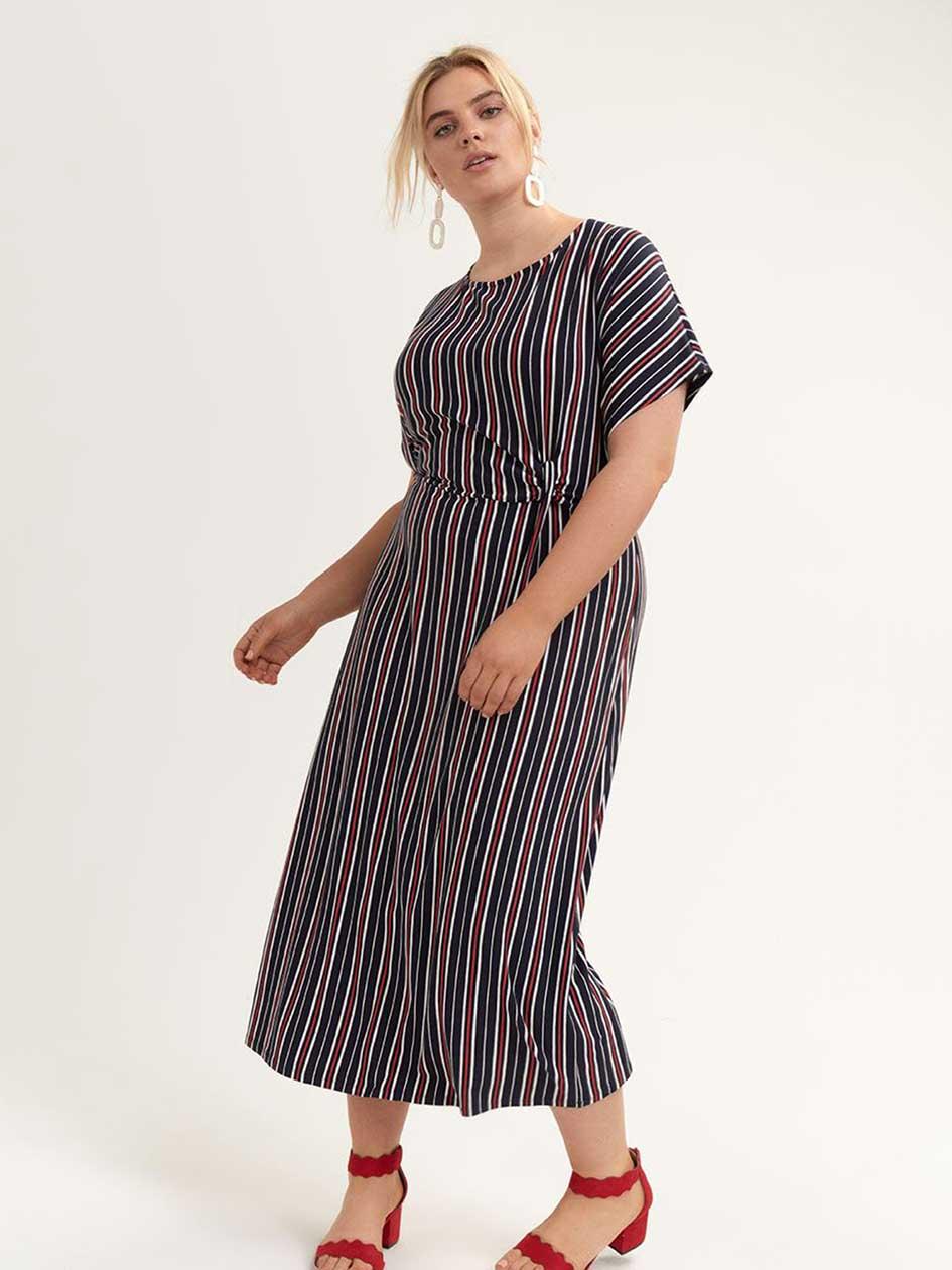 fdf7ba8160d2 Striped Midi Dress with Knot Detail - Michel Studio