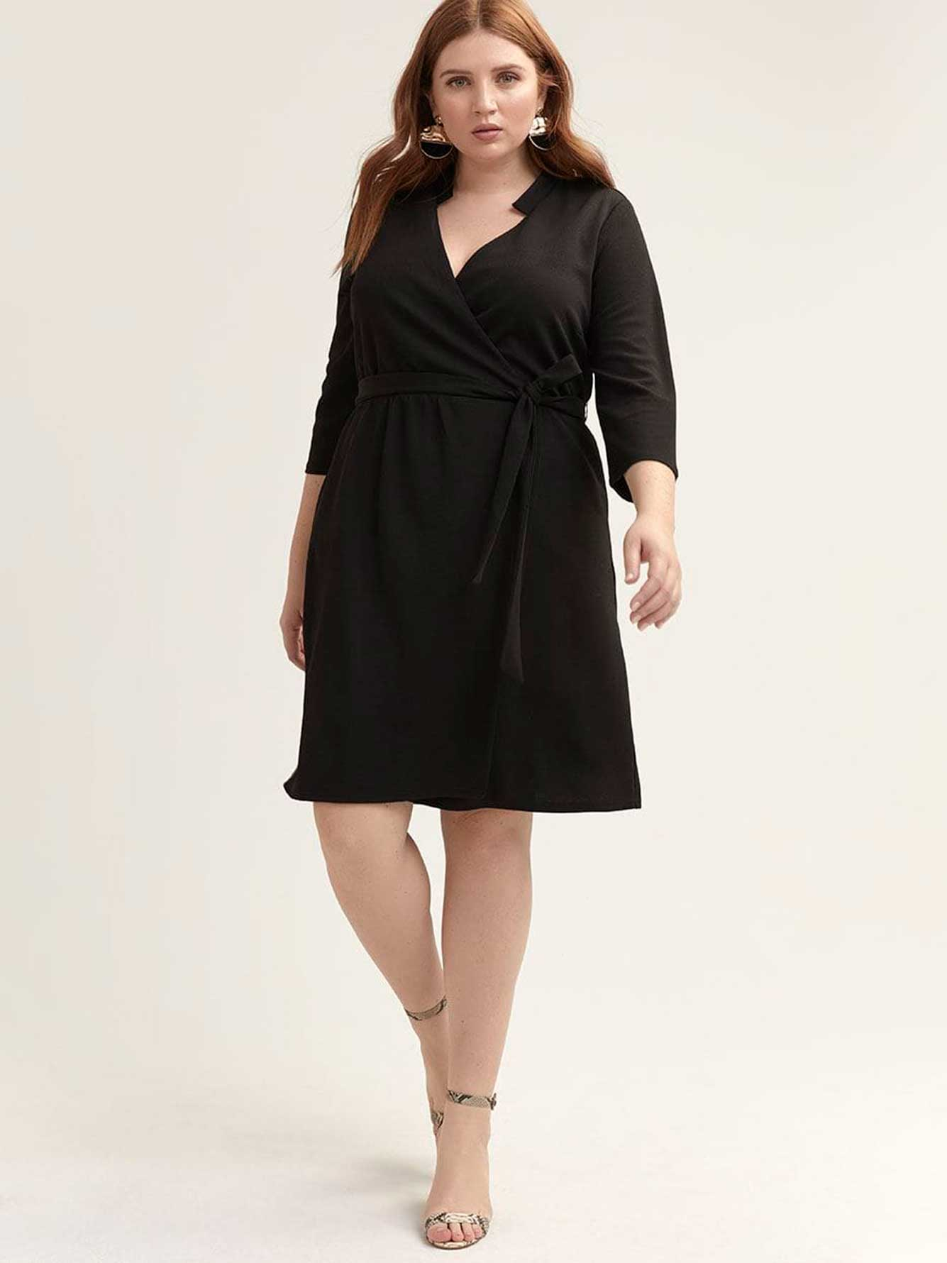 90552883b48e Black Fit & Flare Faux Wrap Dress - Michel Studio | Addition Elle