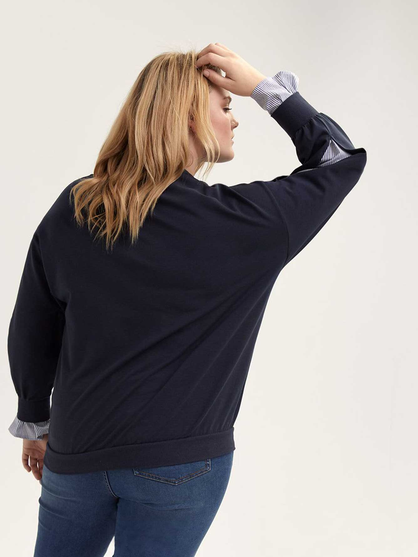 Sweatshirt with Slit Sleeves and Woven Underlay - L&L