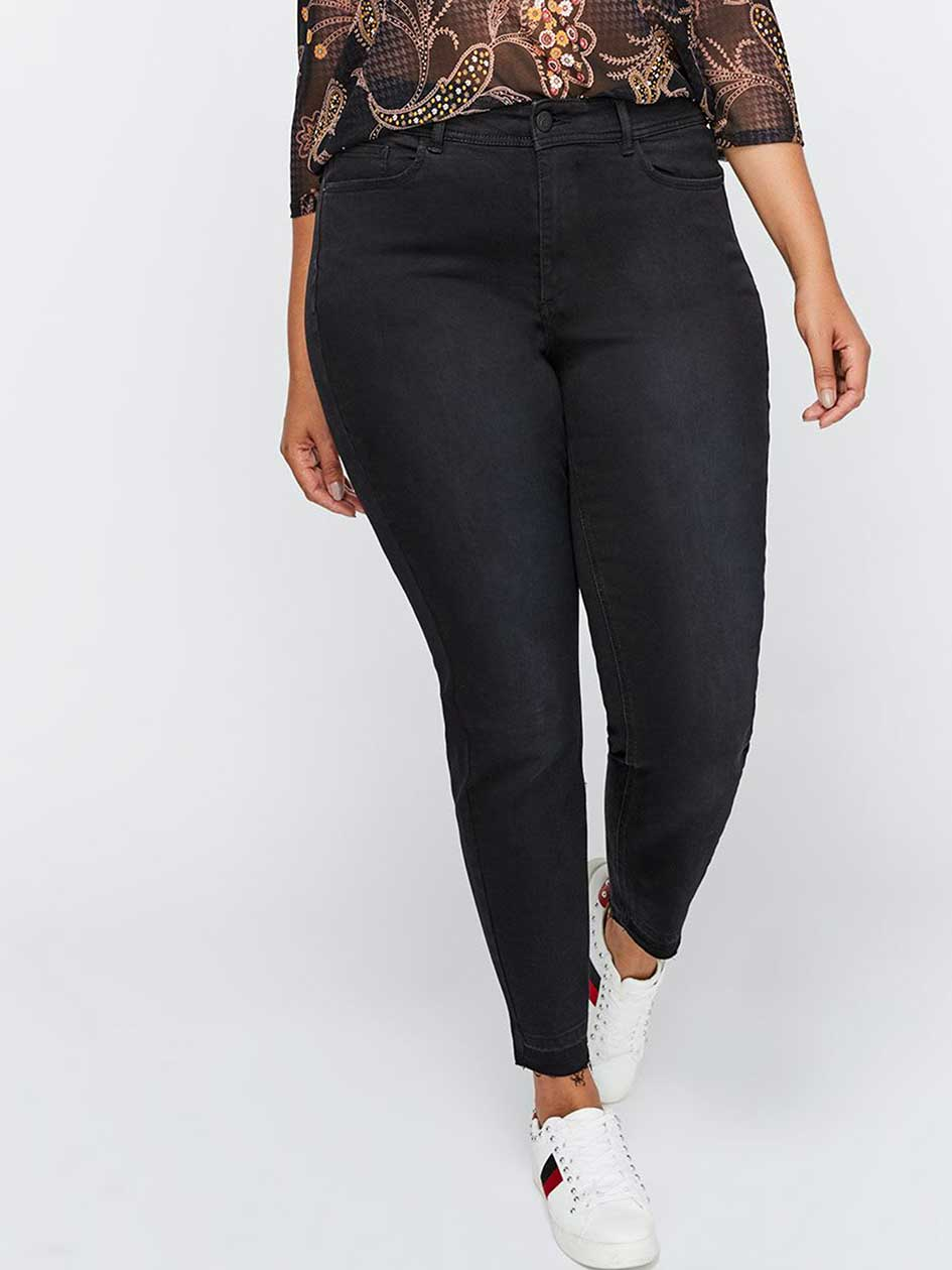 Authentic Black Skinny Denim with Released Hem - L&L