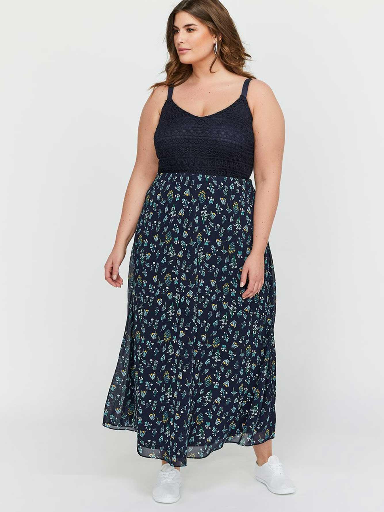 09ad0ba3cb Michel Studio A-Line Empire Waist Mixed Fabric Maxi Dress | Addition ...
