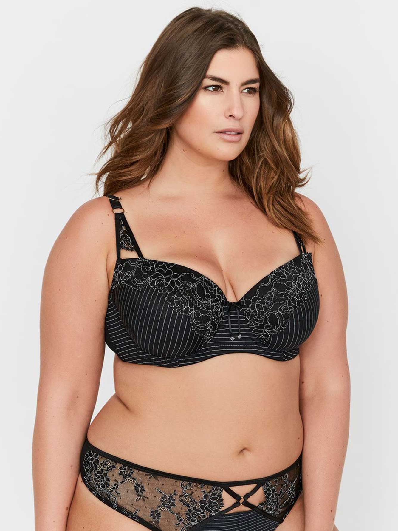 9adc11b9d1b Ashley Graham Essentials Lace and Striped Showstopper Bra ...