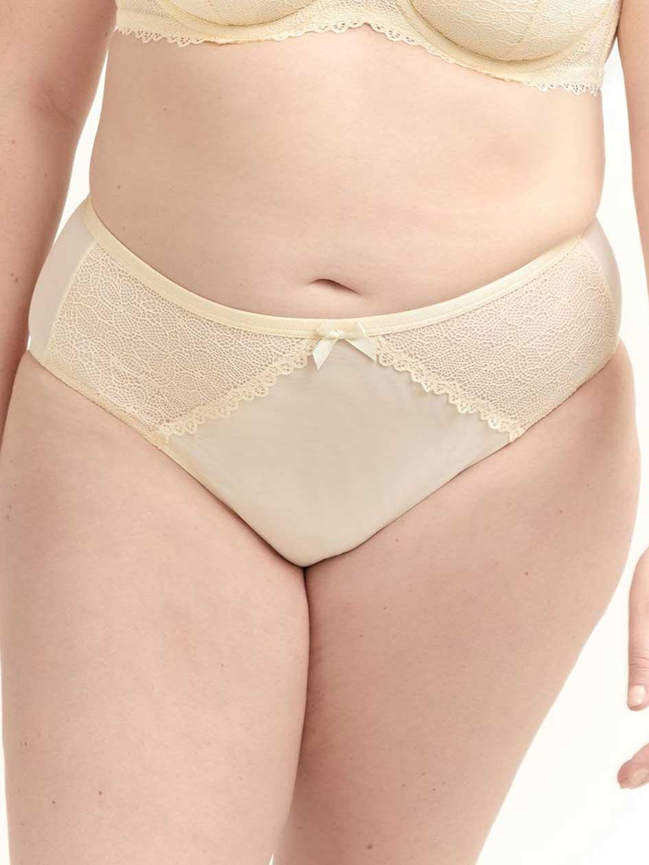 b4a8bf7823e High Cut Mesh   Lace Brief Panty - Déesse Collection