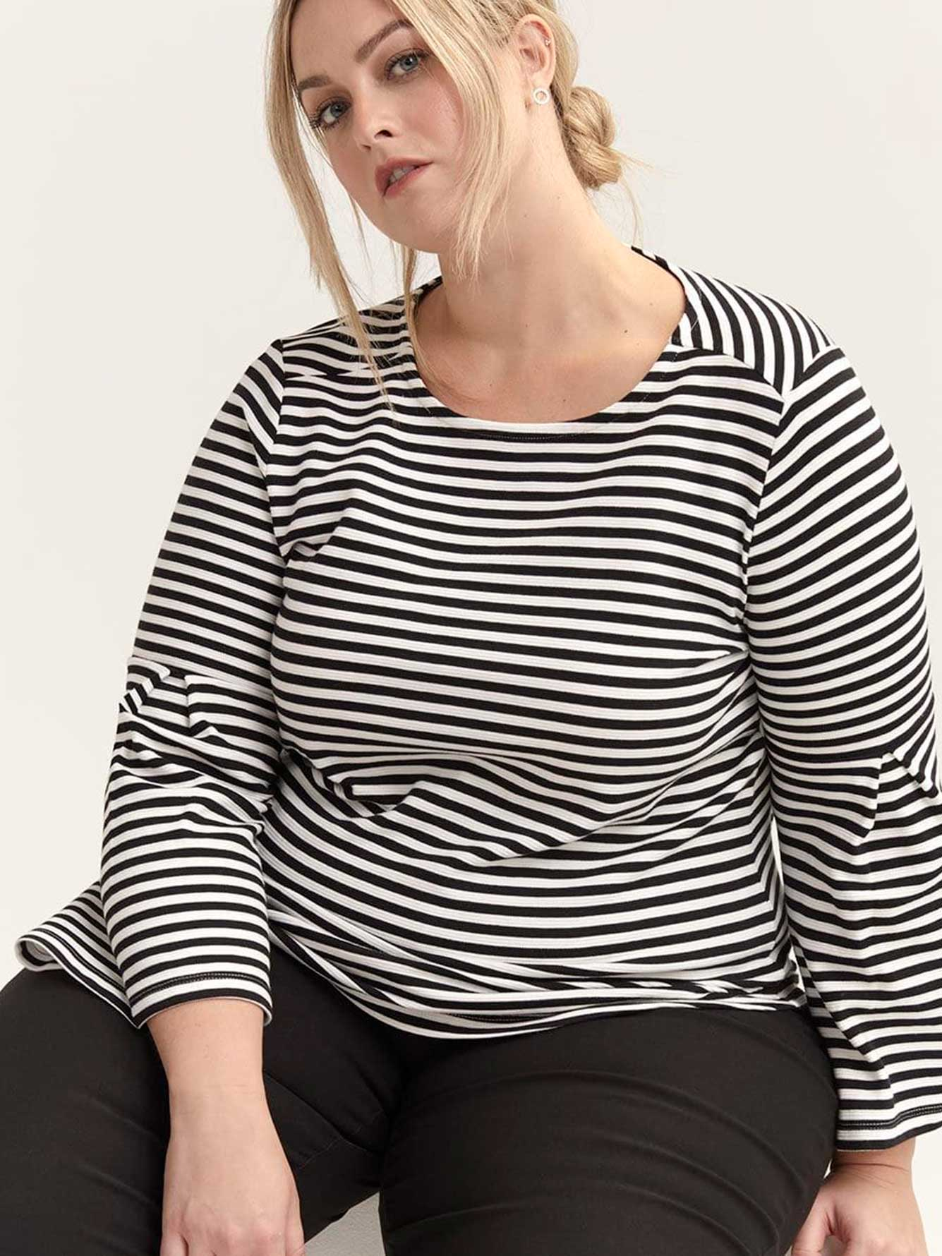 Striped Flounce Sleeve Blouse - In Every Story