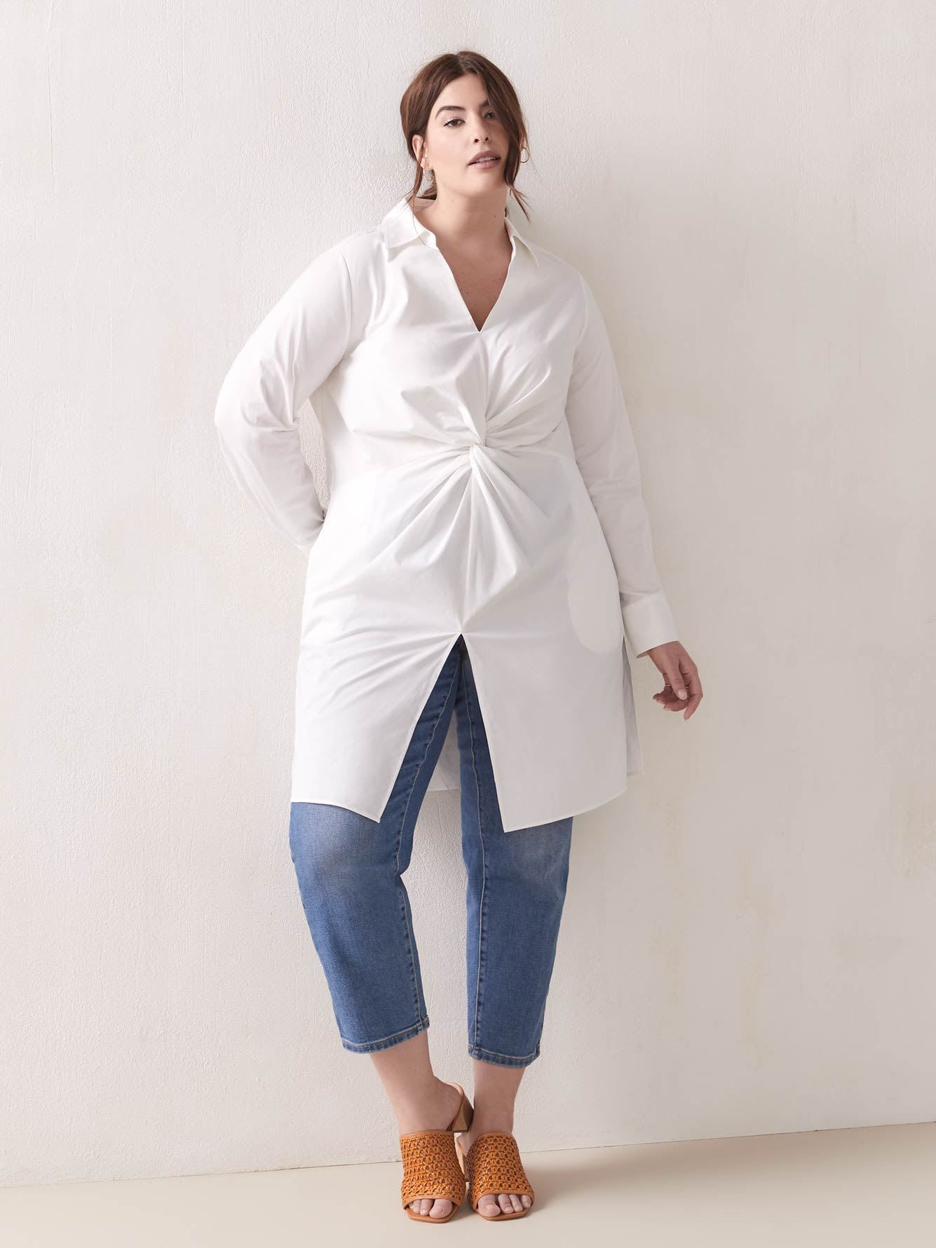 Twist-Front Tunic Shirt - Addition Elle