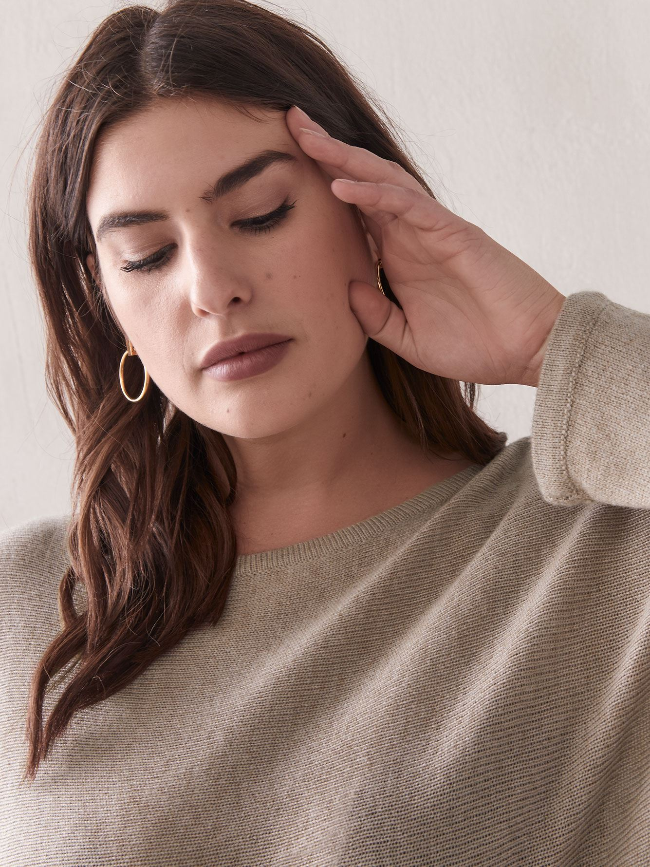 Cashmere-Blend Dolman-Sleeve Sweater - Addition Elle