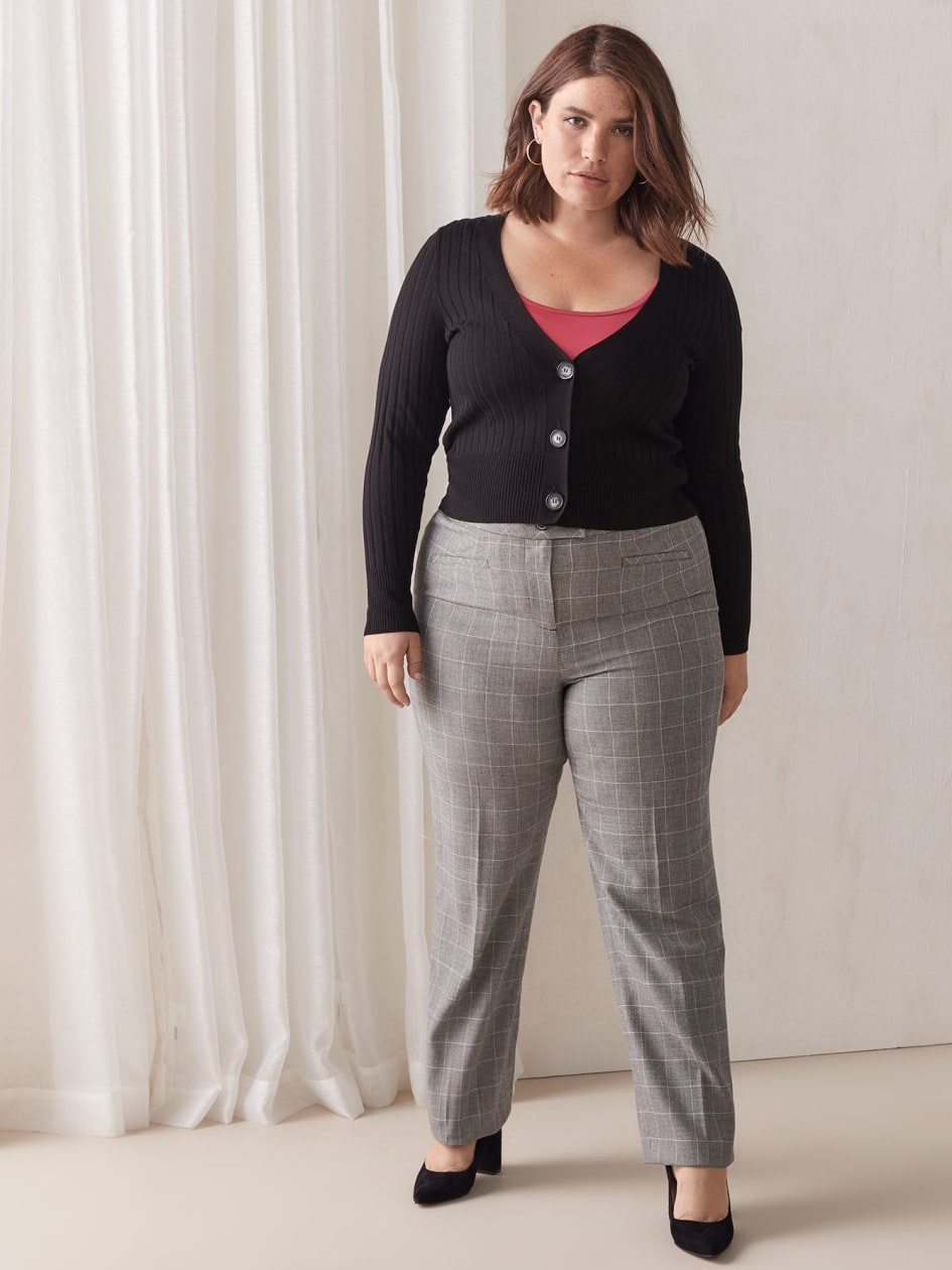 Windowpane Straight Leg Pant - Addition Elle