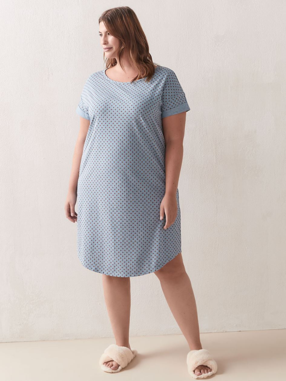 Printed Short Sleeve Sleepshirt - Déesse Collection