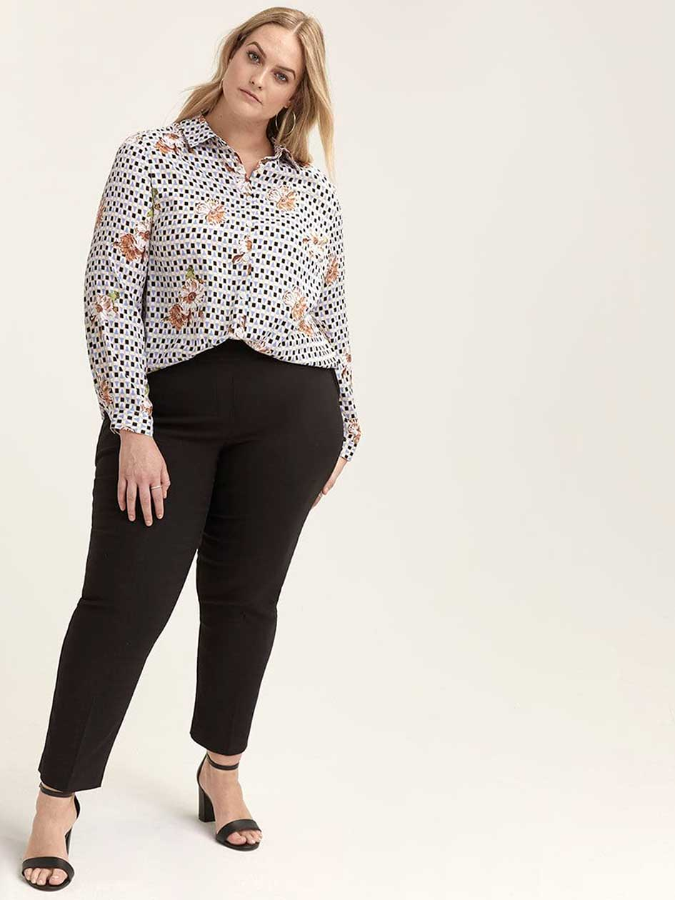 Printed Long Sleeve Button-Down Blouse - In Every Story