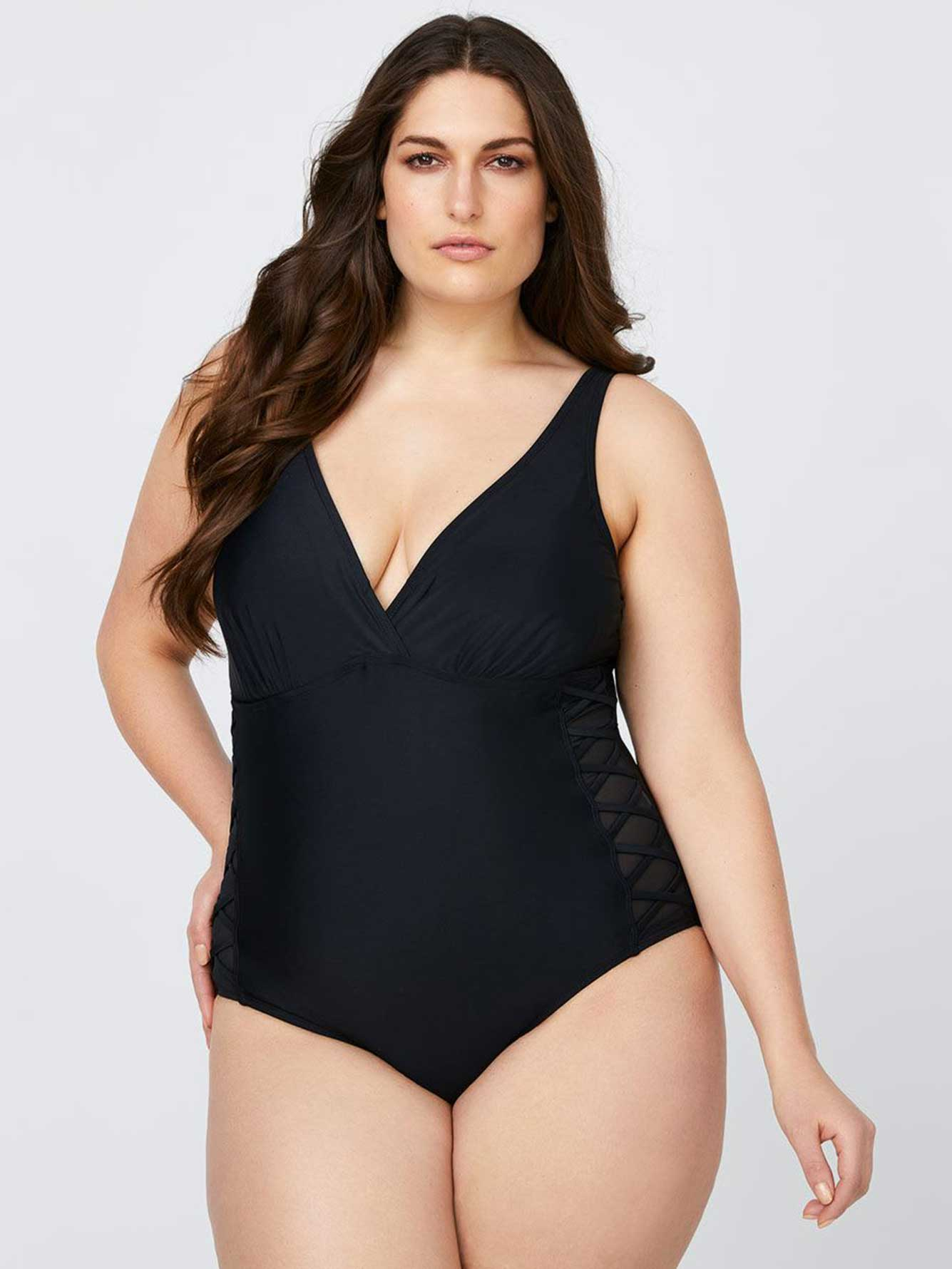 e194b21d2ff One-Piece Swimsuit with Mesh Inserts - Sea