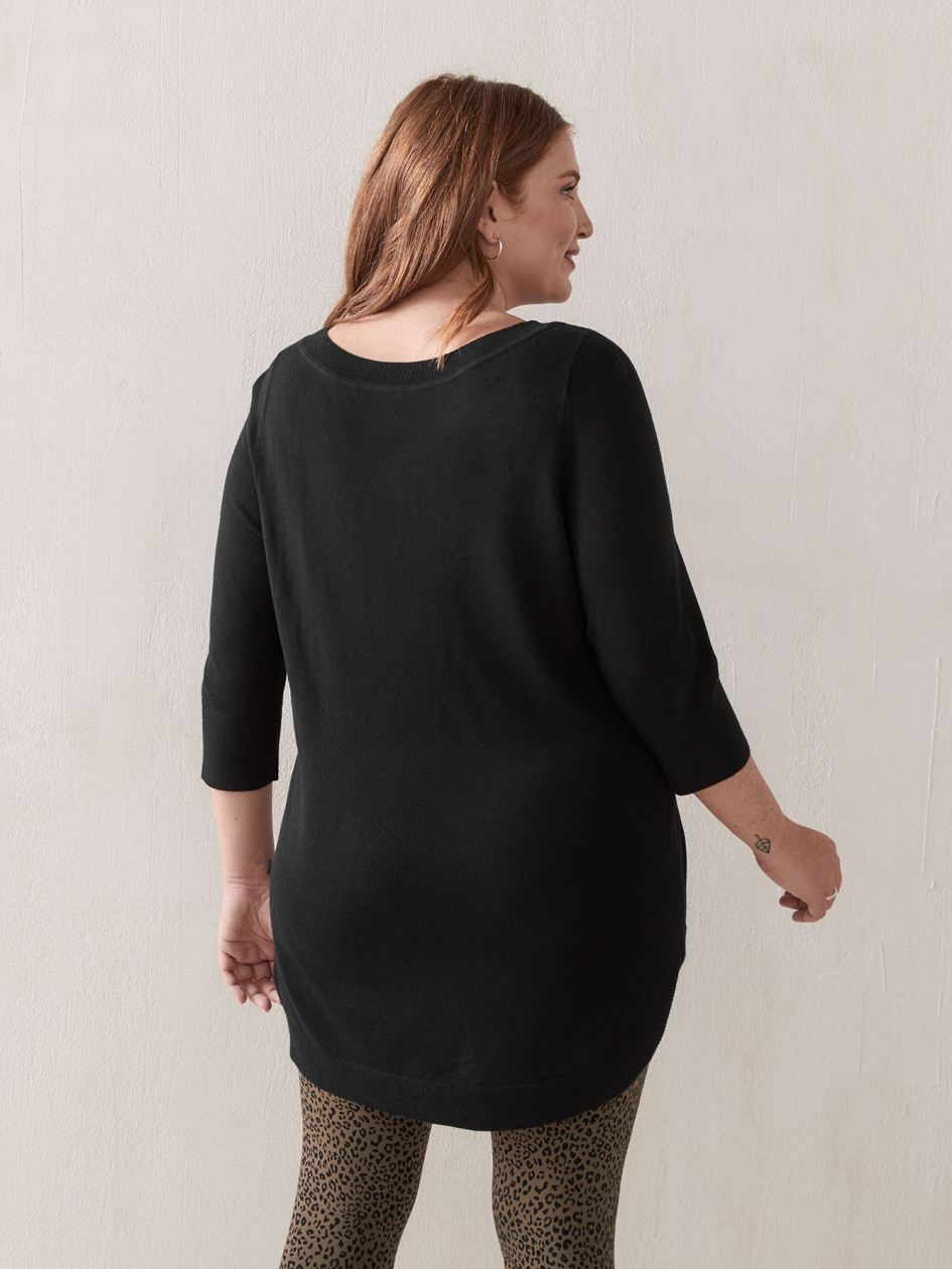 Solid 3/4 Sleeve Tunic Sweater - Addition Elle
