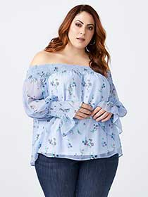 Printed Off Shoulder Blouse - d/C JEANS