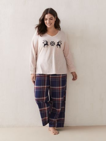 PJ Set Cotton Top With Flannel Pants - ti Voglio