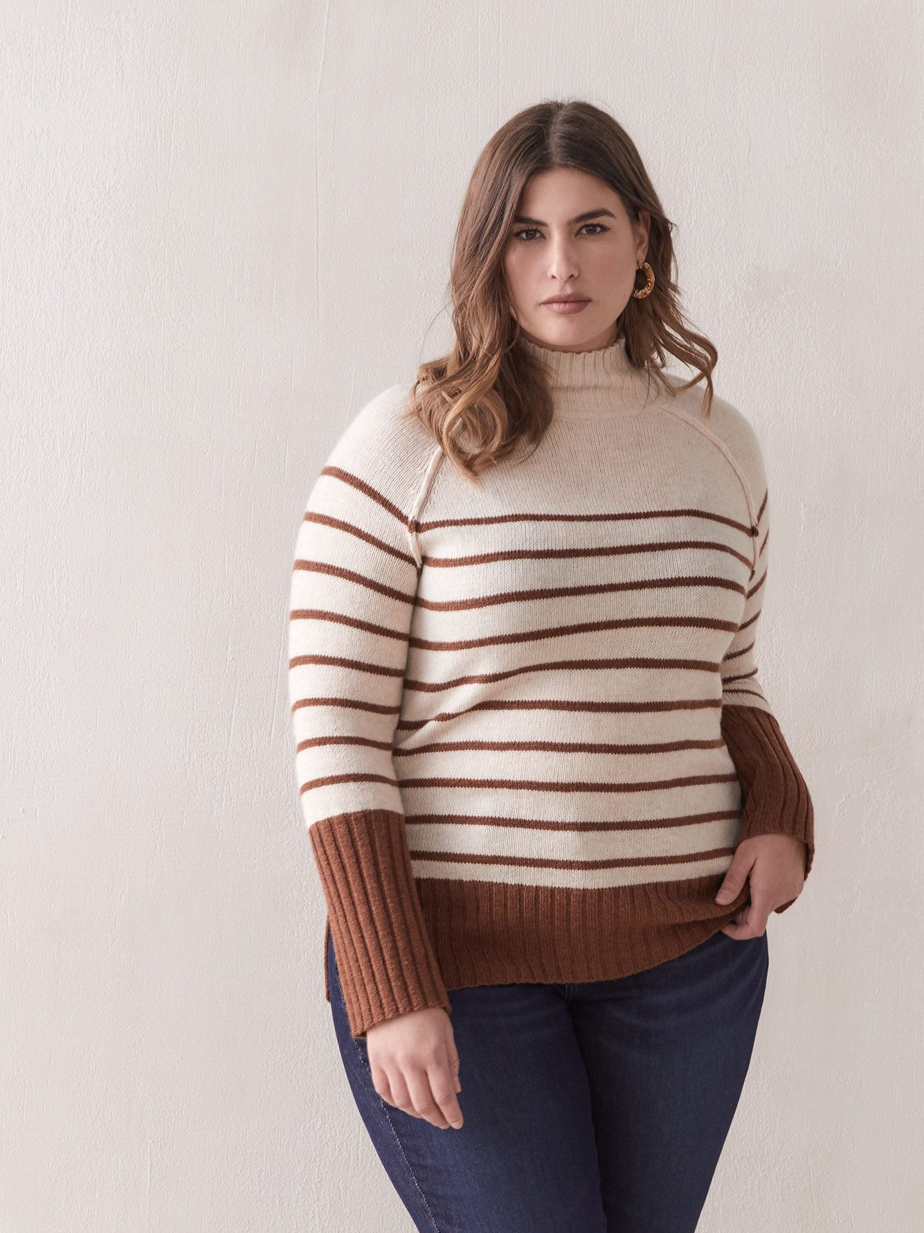 Striped Mock-Neck Sweater - Addition Elle