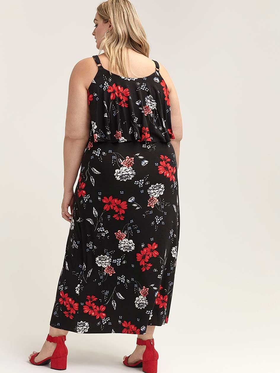 Sleeveless Polka Dot Maxi Dress with Ruffle - In Every Story
