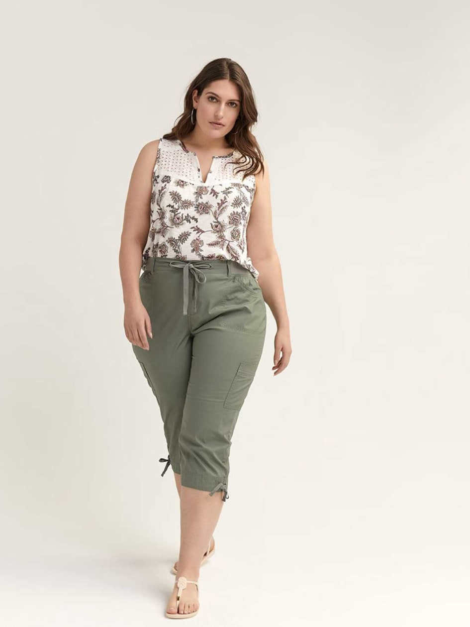 87677ecf997 Woven Capri with Ribbing - d C JEANS