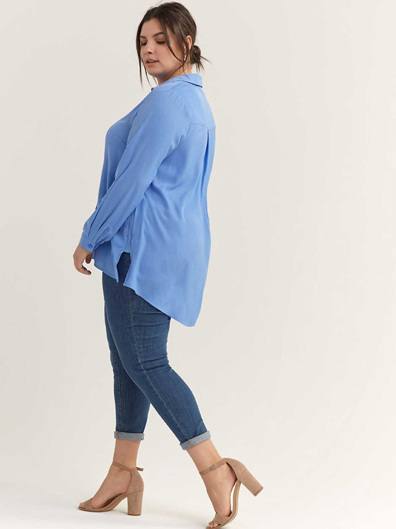 Long Sleeve Solid High-Low Blouse - In Every Story