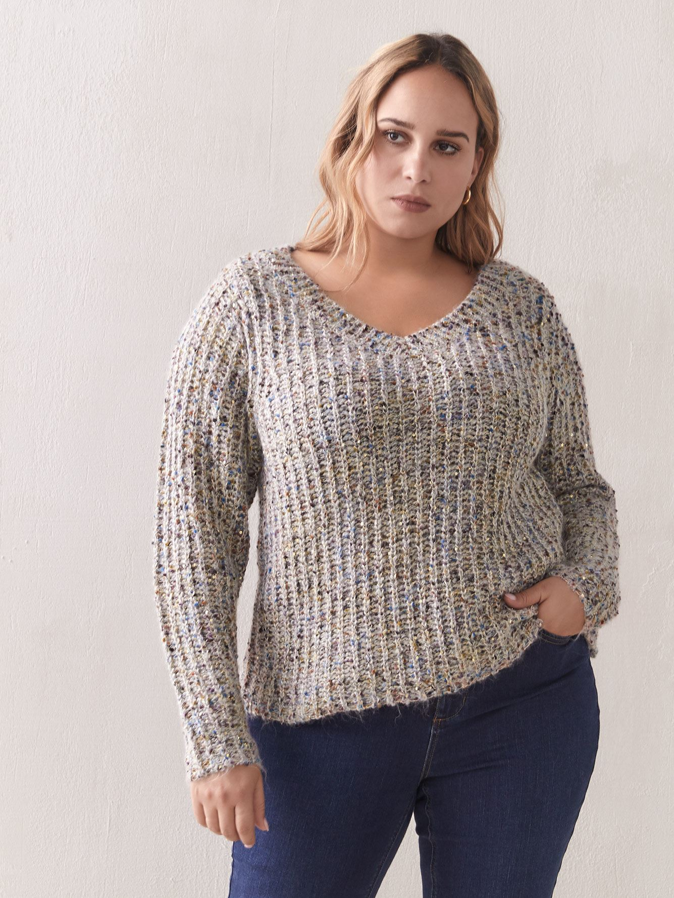 Short Knit Sequin Sweater - Addition Elle