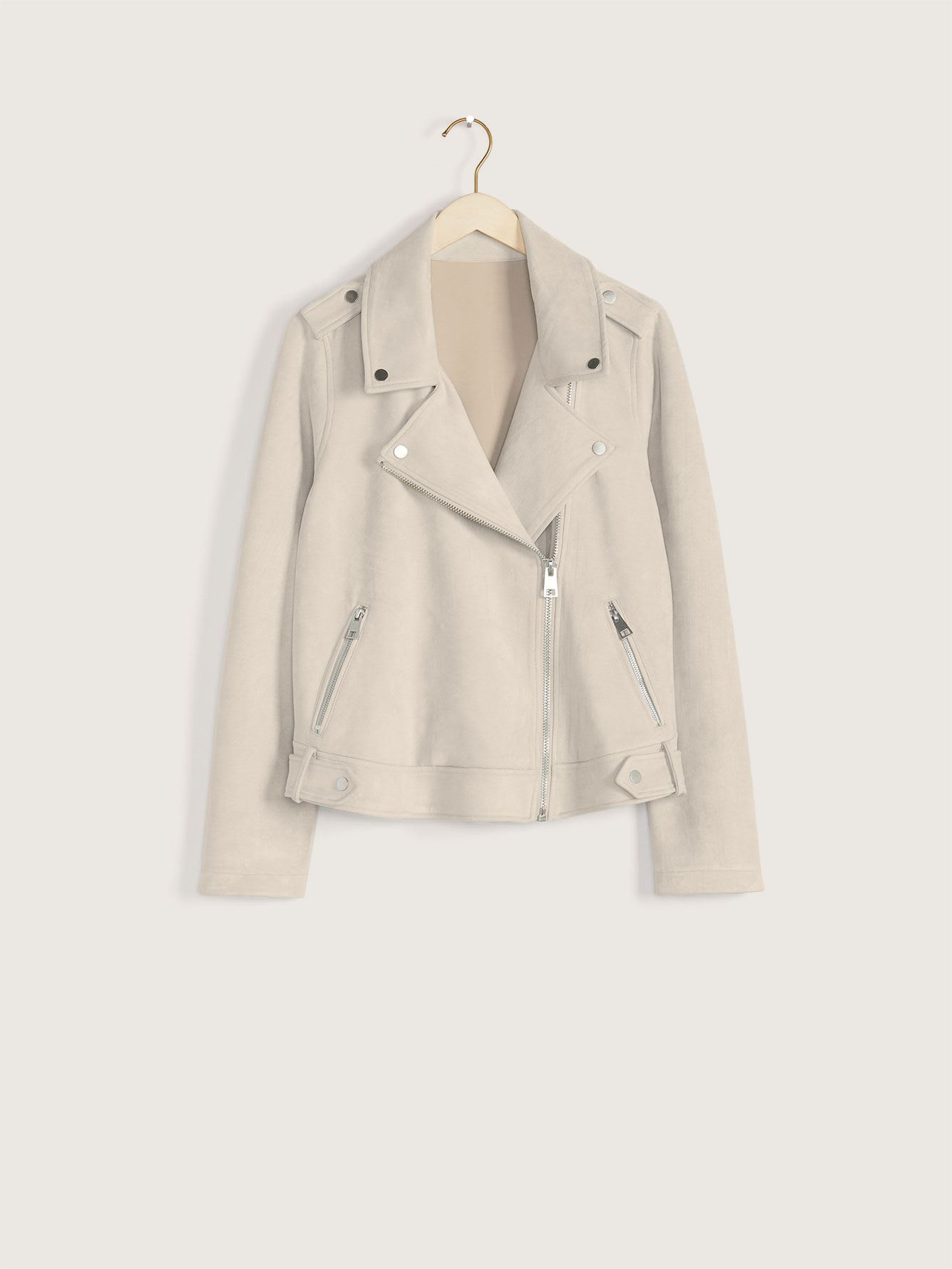 Faux-Suede Moto Jacket - Addition Elle