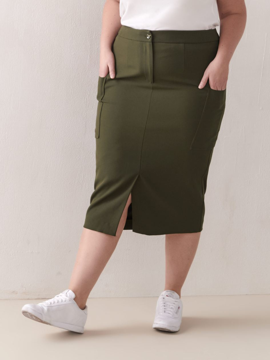 Utility Pencil Skirt with Wide Pockets - Addition Elle